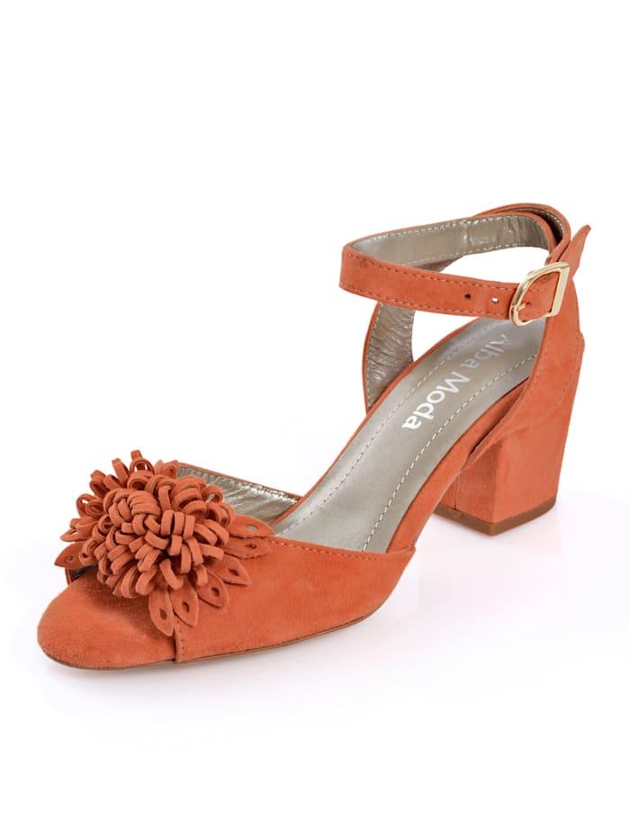 Alba Moda Sandalette aus weichem Ziegenveloursleder, Orange