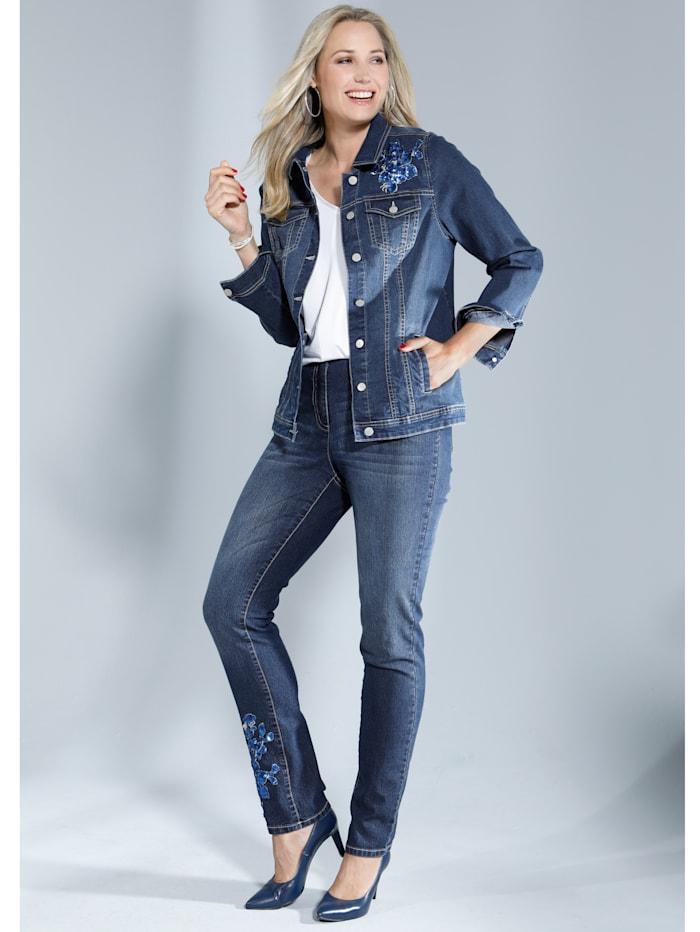 Jeans mit Paillettenapplikation