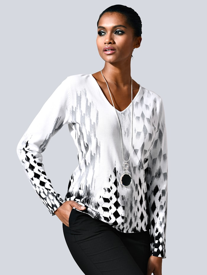 Alba Moda Pullover mit grafischem allover Print, Weiß/Schwarz