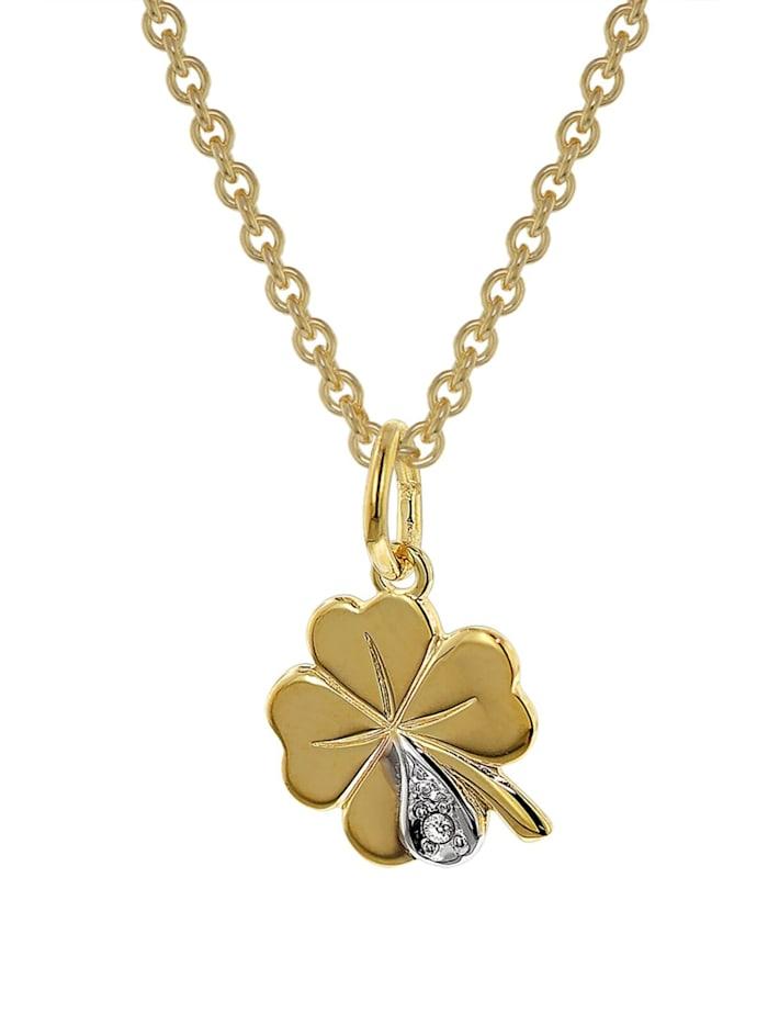 trendor Kleeblatt Anhänger mit Diamant Gold 333 an goldplattierter Kette, Goldfarben