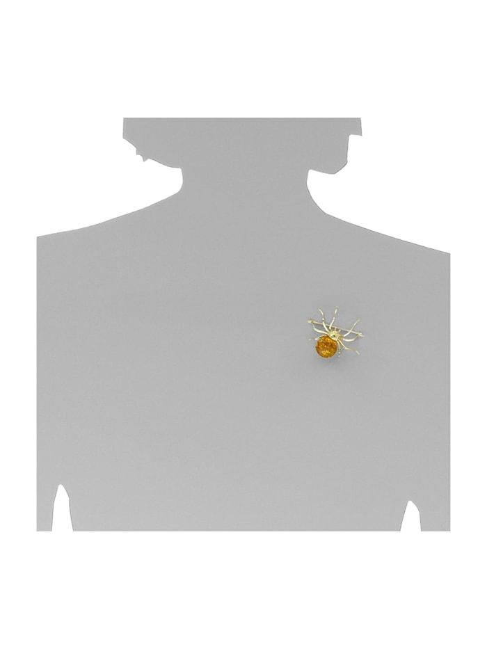 Brosche - Spinne 48 x 40 mm - Silber 925/000, vergoldet - Bernstein