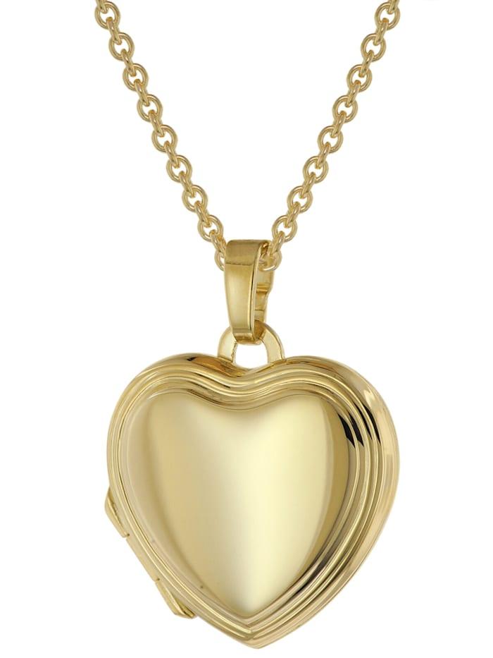 trendor Herz-Medaillon Gold 333 an vergoldeter Silberkette, Goldfarben