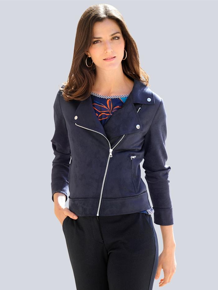 Alba Moda Blazer in angesagter Bikerform, Marineblau