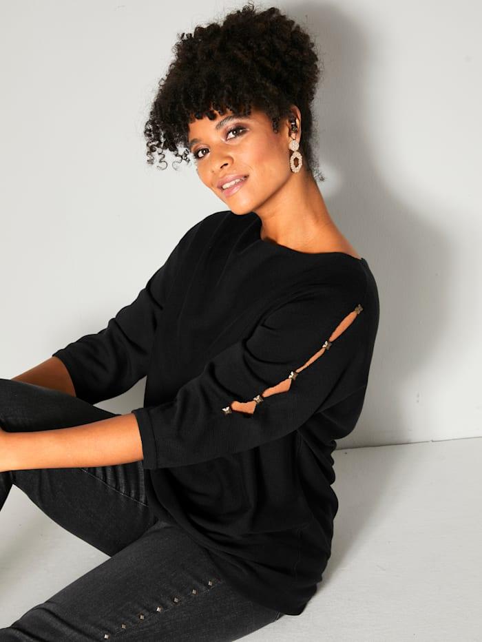 Angel of Style Pullover mit Cut-Outs an den Ärmeln, Schwarz