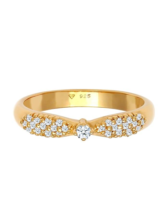 Ring Verlobung Glamour Diamant (0.16 Ct) 925 Silber
