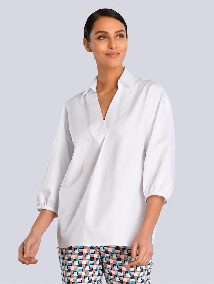 Alba Moda White Bluse in verlängerter Form, Weiß