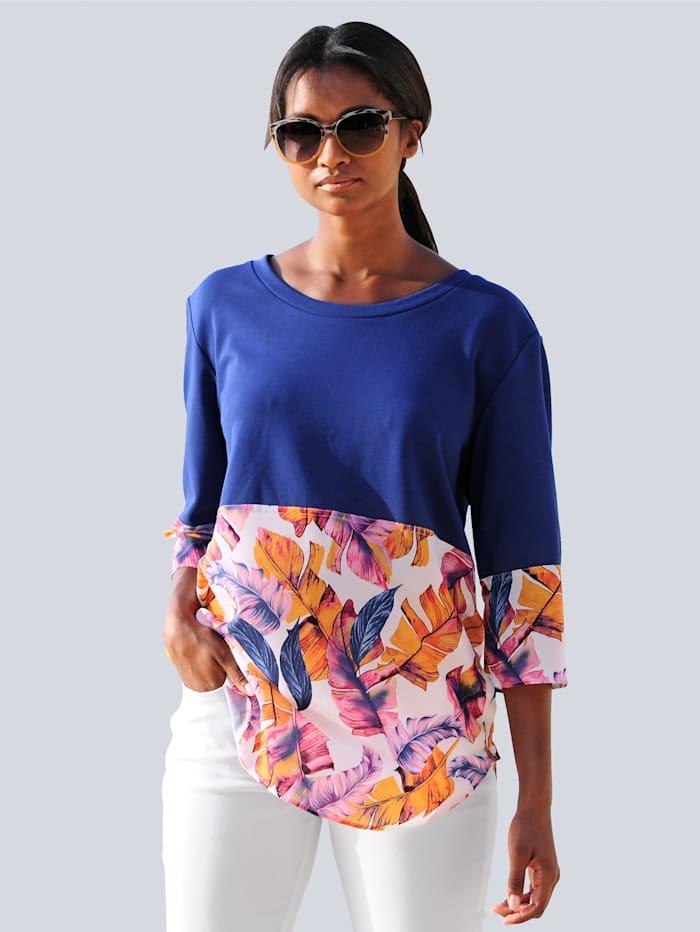 Alba Moda Strandshirt im Materialmix, Blau-Bunt