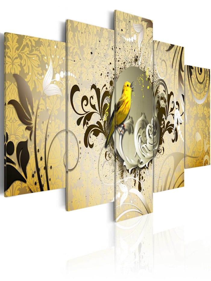 artgeist Wandbild Yellow bird singing, Beige,Gelb,Braun
