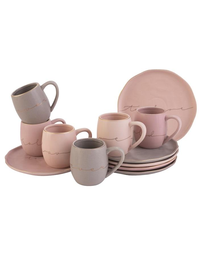 MARAVILLA Kaffee-Service, 12-tlg., rosé/grau