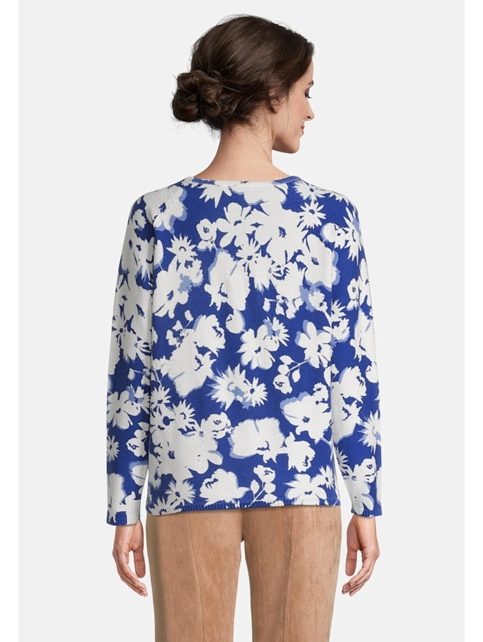 Grobstrick-Pullover mit Blumenprint