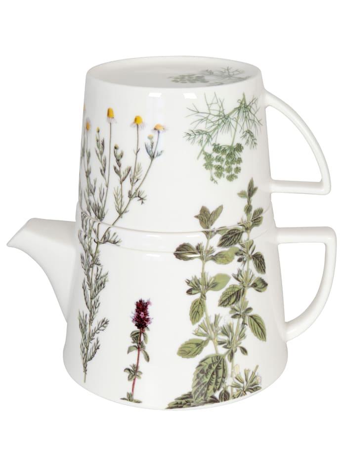 Könitz Teekanne mit Deckel & Becher 'Tea for me - Kräuter', mehrfarbig