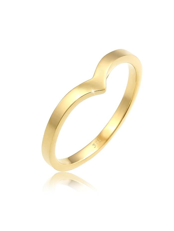Elli Premium Ring V-Form Stapelring Geo Look Modern 375 Gelbgold, Gold