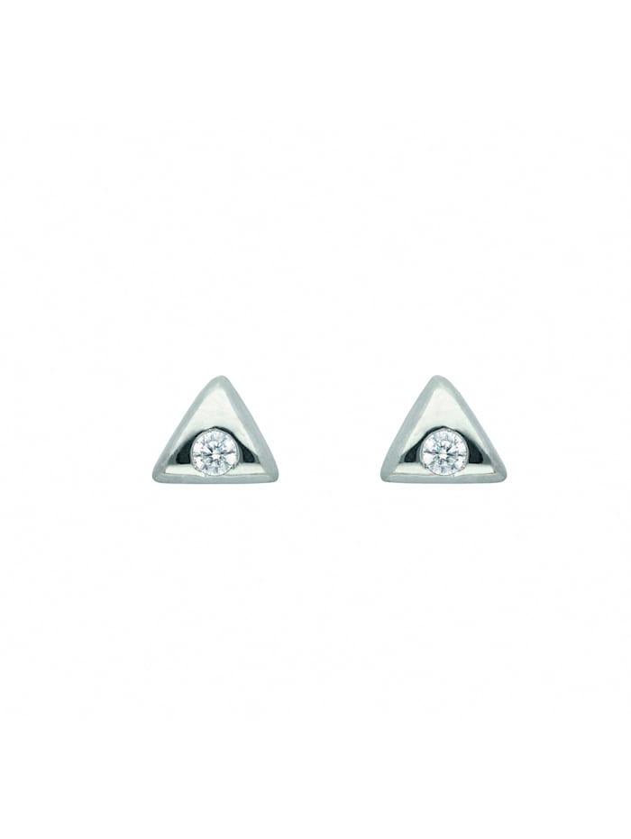 1001 Diamonds Damen Silberschmuck 925 Silber Ohrringe / Ohrstecker dreieckig mit Zirkonia, silber