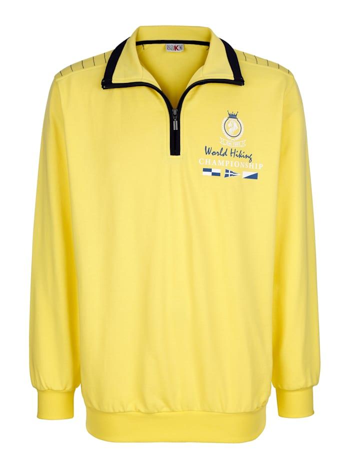 Roger Kent Sweatshirt mit Kontraststickerei, Gelb