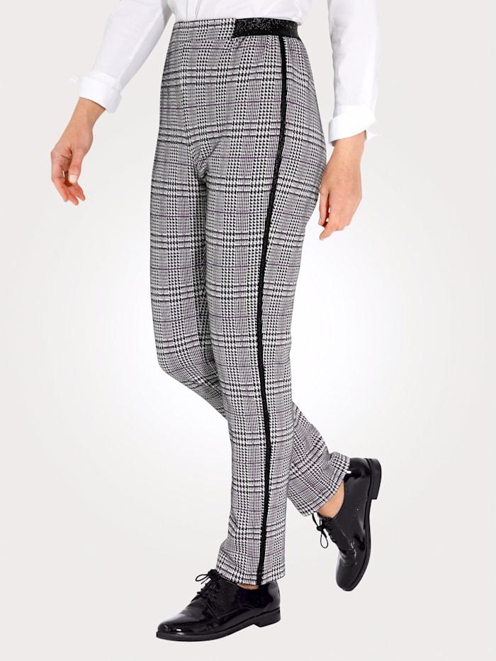 MONA Jerseyhose aus Glencheckkaro, Schwarz/Weiß/Lila