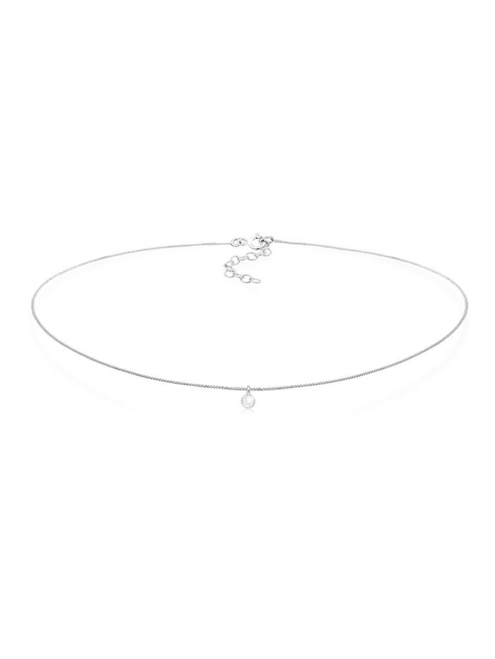 Elli Halskette Choker Mondstein Anhänger Basic Trend 925 Silber, Silber