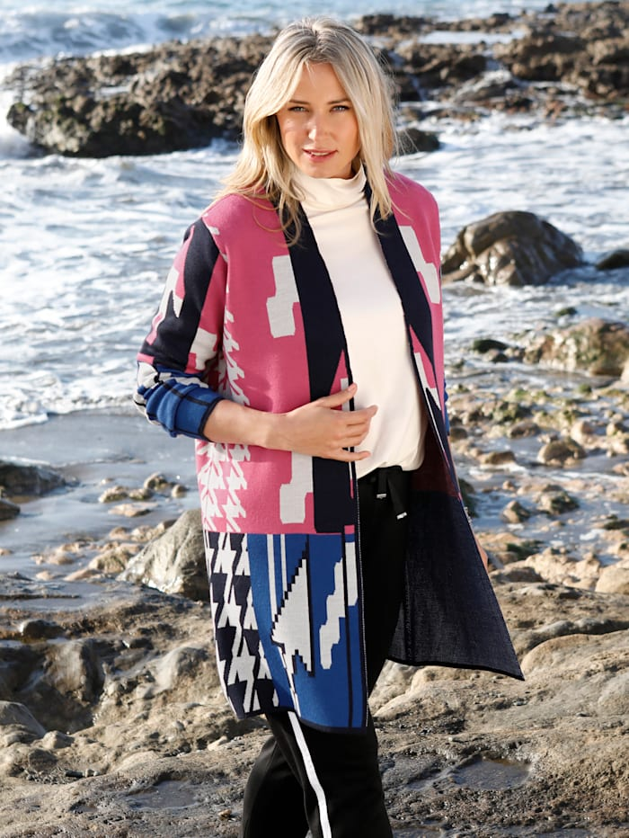 MIAMODA Vest met grafisch breipatroon, Blauw/Pink/Wit