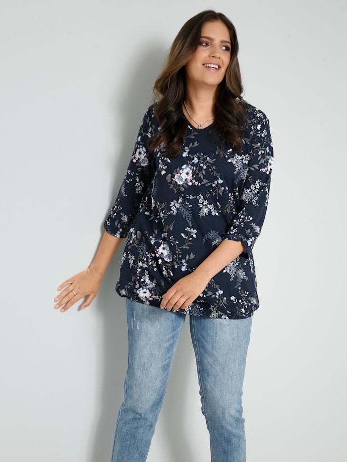 Janet & Joyce Shirt mit floralem Druckmuster, Marineblau/Rosenholz