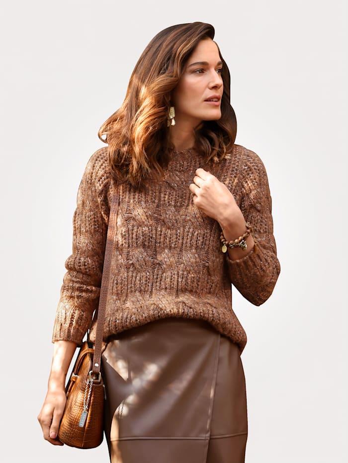 MONA Pullover mit Zopfmuster, Hellbraun