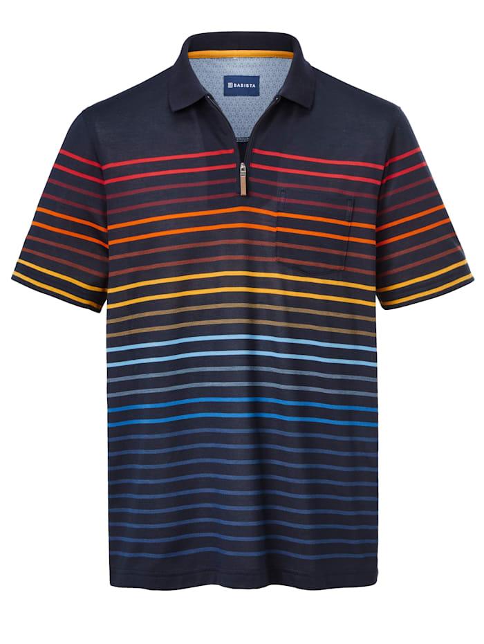 BABISTA Poloshirt met ingebreide strepen, Marine/Multicolor