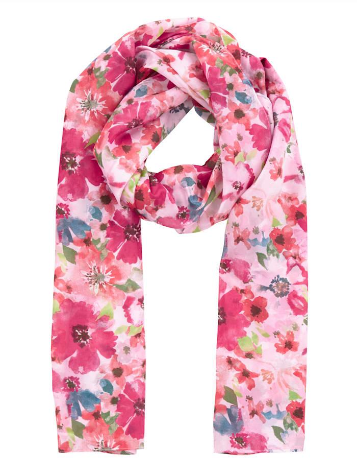 Laura Kent Skjerf med blomstermønster, fuksia mønstret