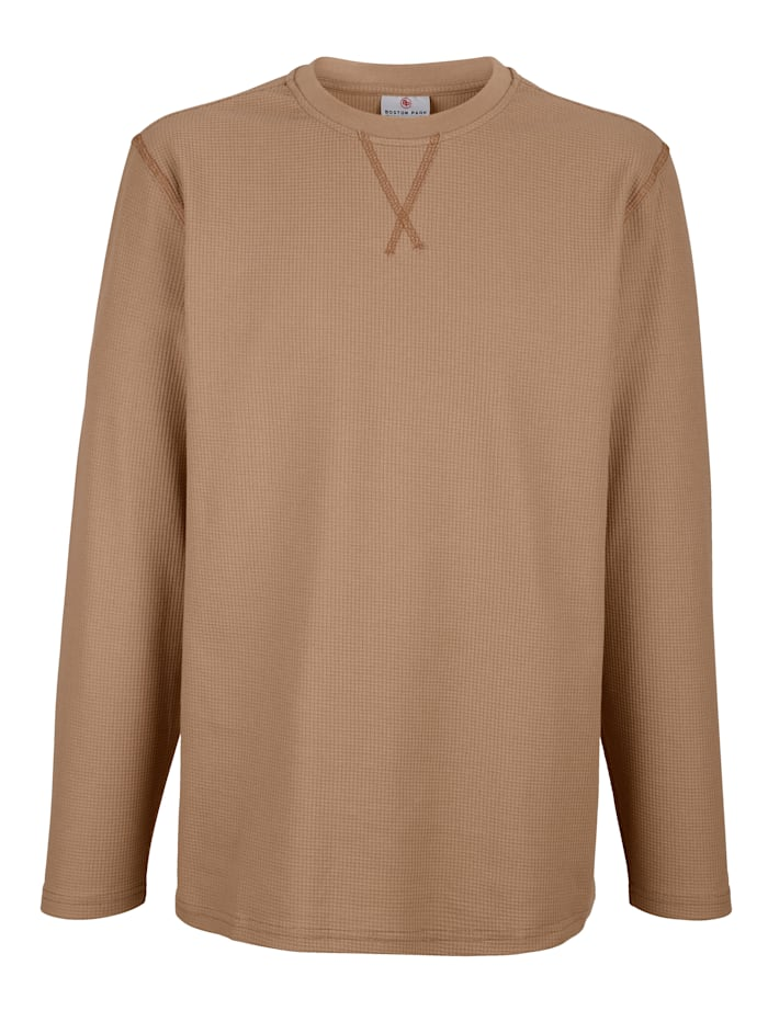 Boston Park Sweatshirt mit Waffelstruktur, Camel