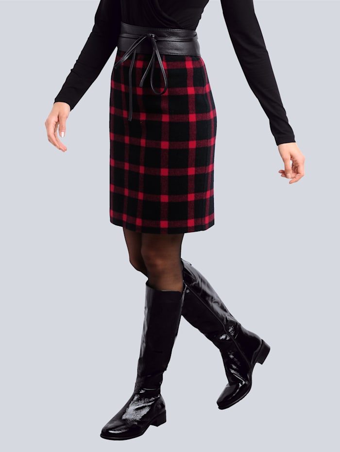 Alba Moda Rok met ruitdessin, Zwart/Rood
