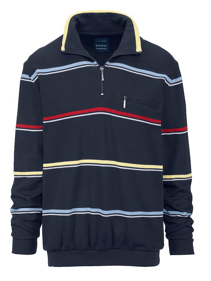 BABISTA Sweatshirt med hög krage och kort dragkedja, Marinblå/Röd/Gul/Blå