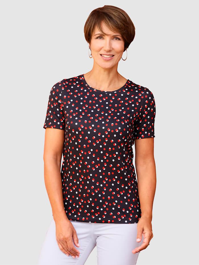 Paola Shirt mit Punktedruck, Schwarz