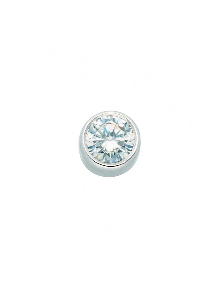 1001 Diamonds Damen Goldschmuck 585 Weißgold Anhänger mit Zirkonia Ø 7 mm, silber