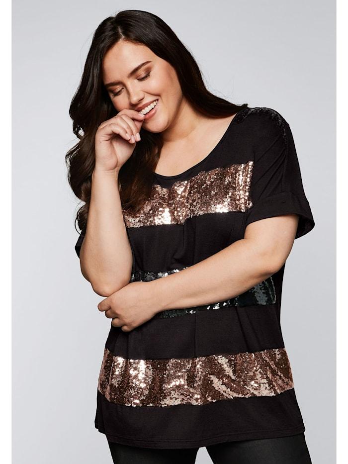 Sheego Sheego Shirt mit Pailletten, schwarz
