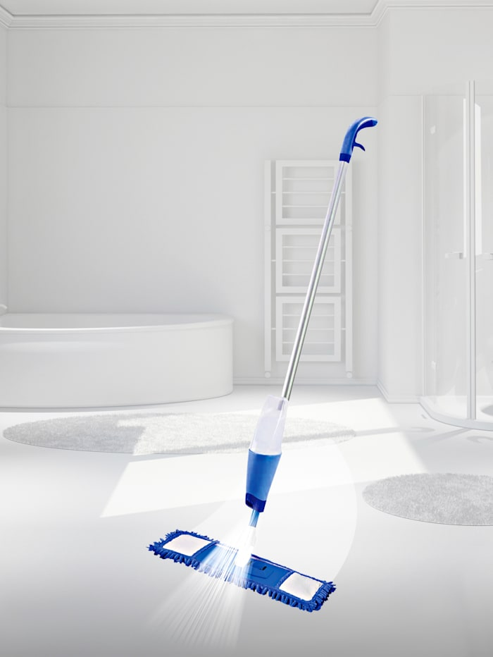 HSP Hanseshopping Sprejový čistič na umývanie podláh s antivírusovým a antibakteriálnym mopom 'ViralOff®', modrá/biela
