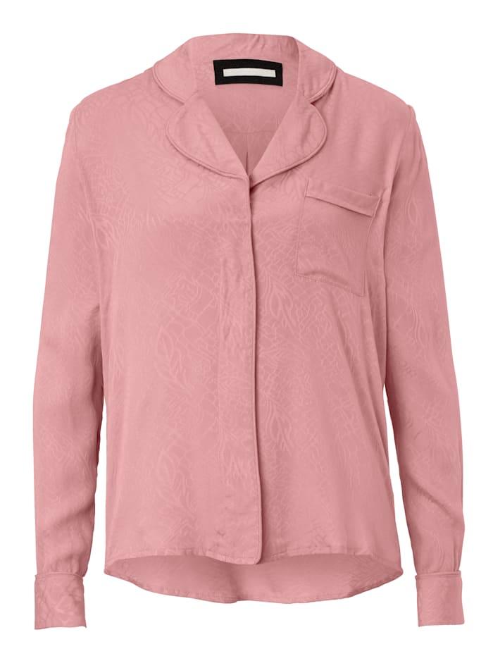 REKEN MAAR Pyjama-Bluse Mit Jacquardmuster, Rosé