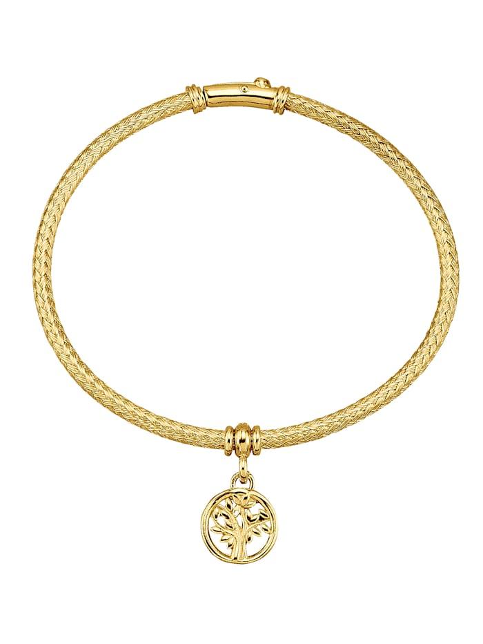 Amara Argent Bracelet avec breloque Arbre de vie, Coloris or jaune
