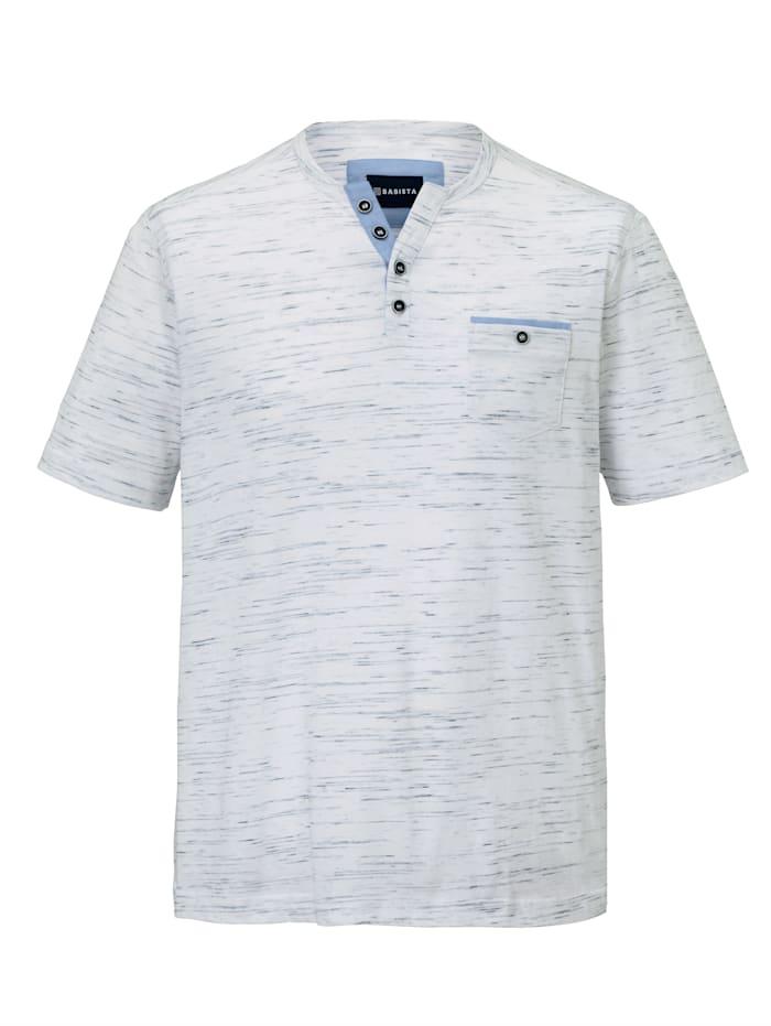 BABISTA T-shirt col tunisien en fil flammé, Blanc
