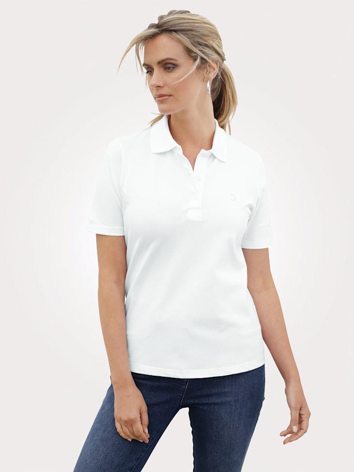 MONA Polo shirt with decorative rhinestones, White