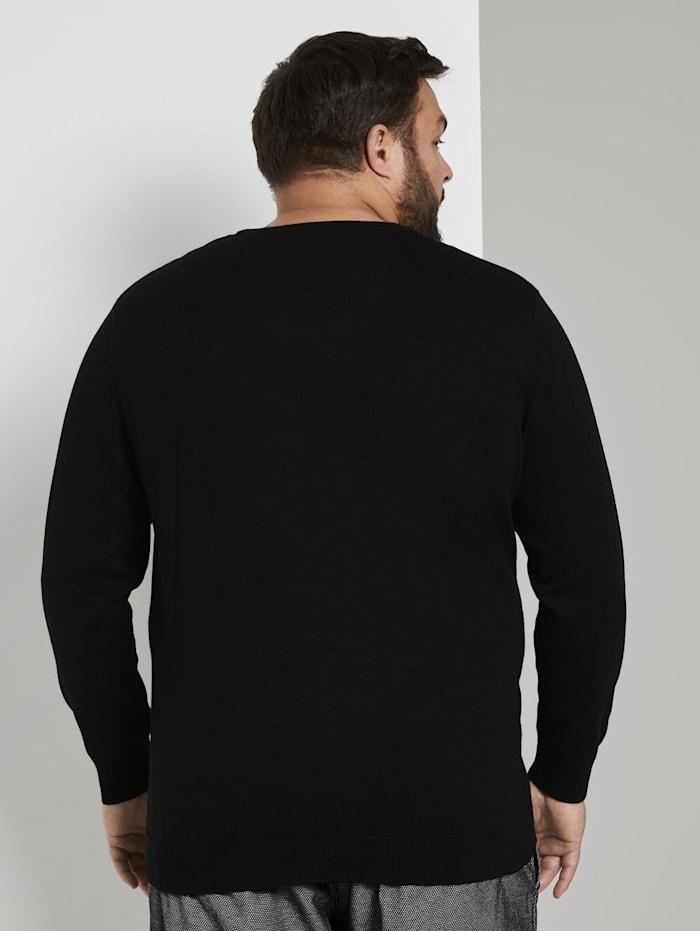 Basic Pullover mit Logo-Stickerei