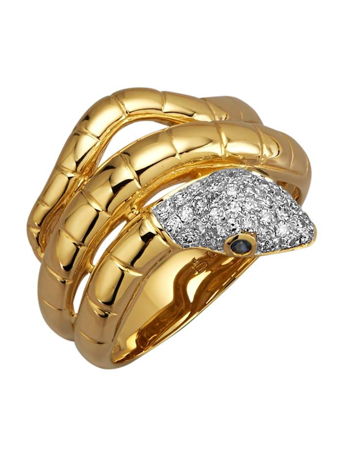 Diemer Diamant Schlangen-Ring mit Diamanten und Saphiren, Weiß