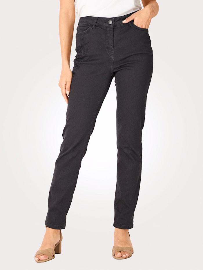 MONA Jeans mit toniger Blüten-Stickerei, Rauchblau