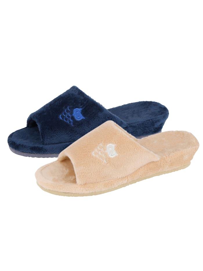 Belafit Pantoffeln im 2-er Pack, Beige/Blau