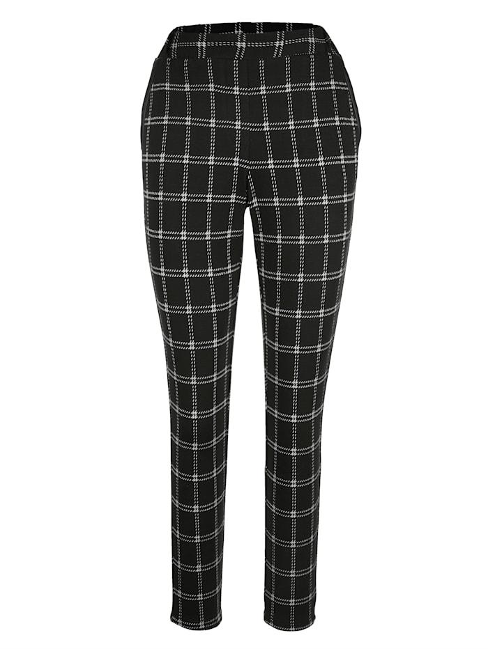 AMY VERMONT Jerseyhose mit Karomuster allover, Schwarz/Weiß