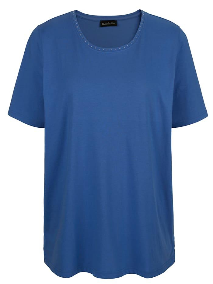 m. collection Shirt mit Dekosteinchen am Ausschnitt, Royalblau