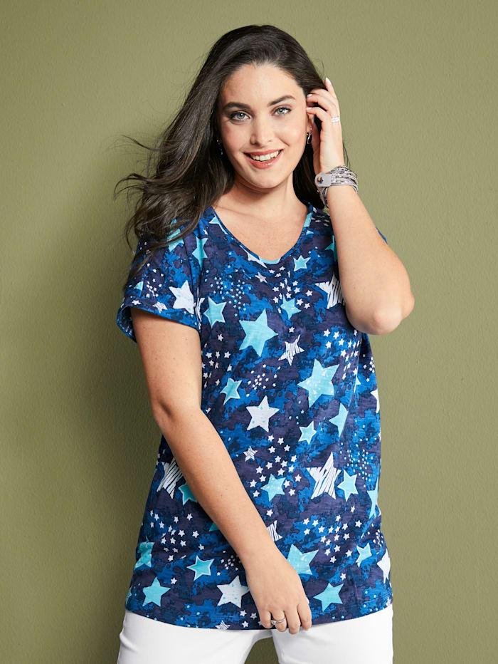 MIAMODA Shirt mit Sternenmotiv, Blau