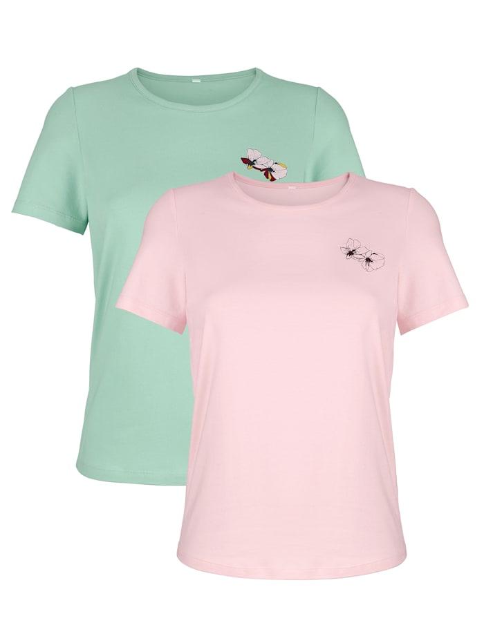 Harmony Shirts per 2 stuks, Jadegroen/Roze