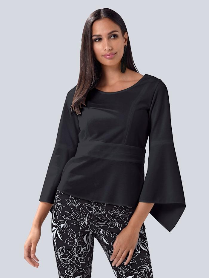 Alba Moda Shirt mit Schößchen, Schwarz