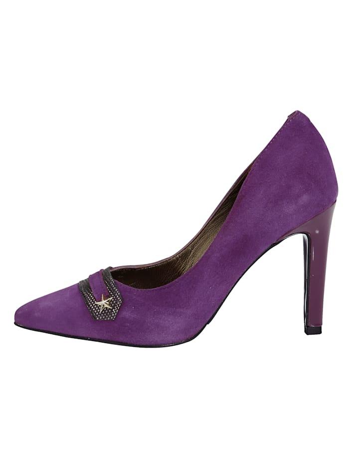 Court Shoes with stripe appliqué, Purple