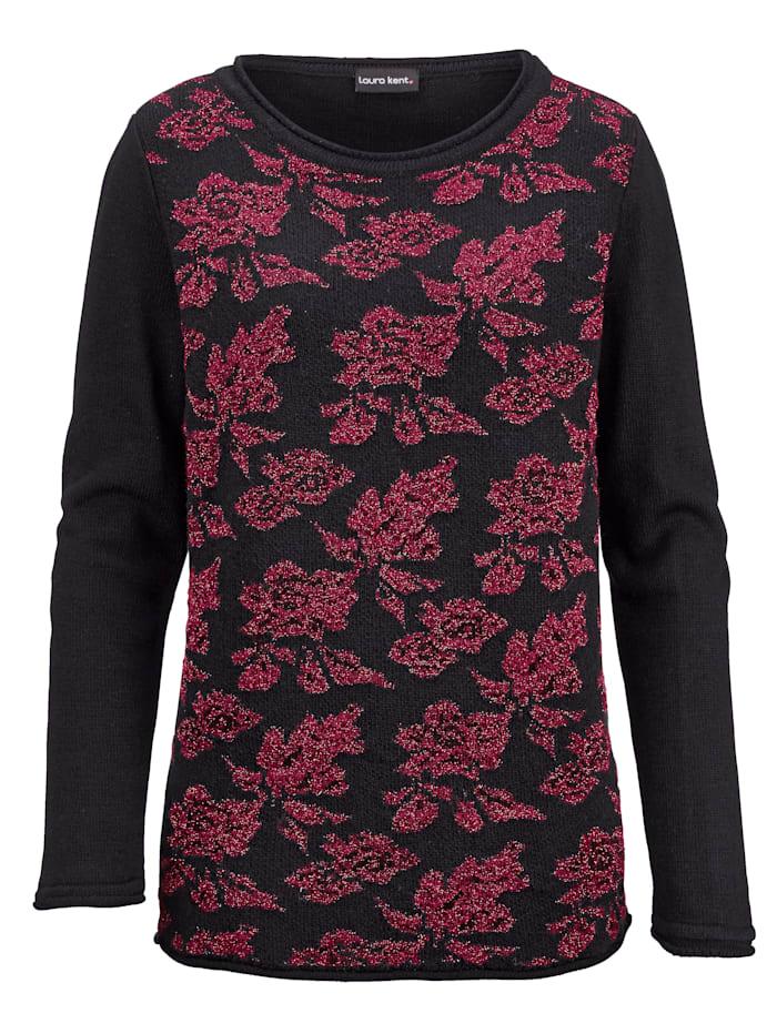 Ruusukuvioitu neulepusero