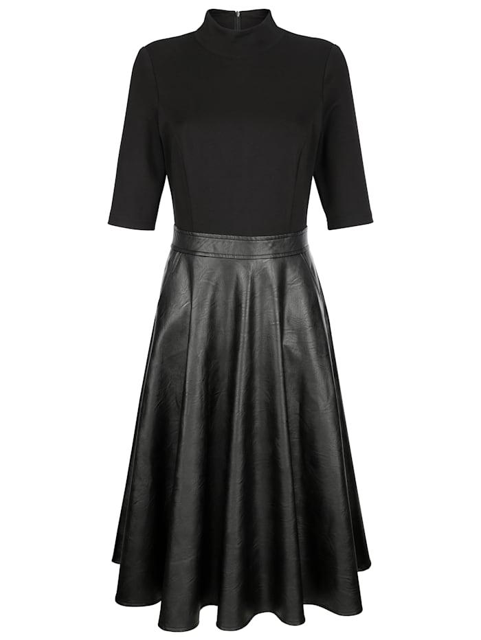 AMY VERMONT Kleid mit Rockteil aus Lederimitat, Schwarz