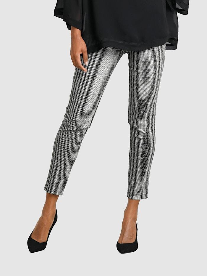 Alba Moda Pantalon à imprimé graphique, Noir/Blanc