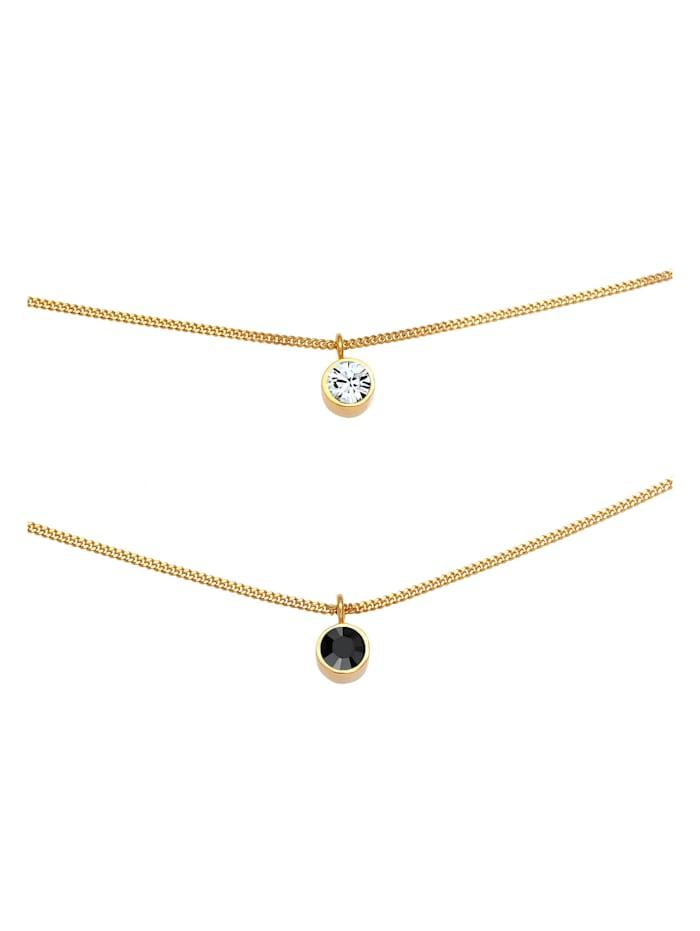 Halskette Choker Layer Kristalle Rund 925 Silber